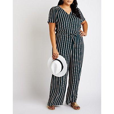 Plus Size Striped Button Up Jumpsuit