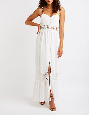 Crochet Button Up Maxi Dress