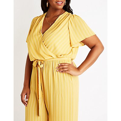 Plus Size Stripe Surplice Jumpsuit