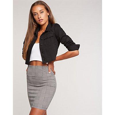 Plaid Mini Bodycon Skirt