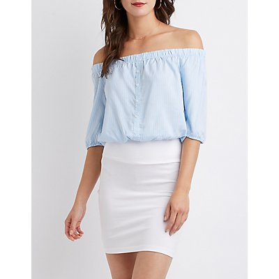 Striped Off The Shoulder Button Up top