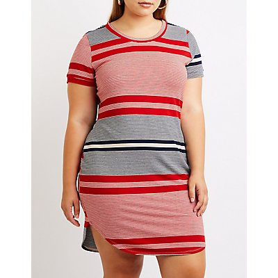 Plus Size Striped T-Shirt Dress