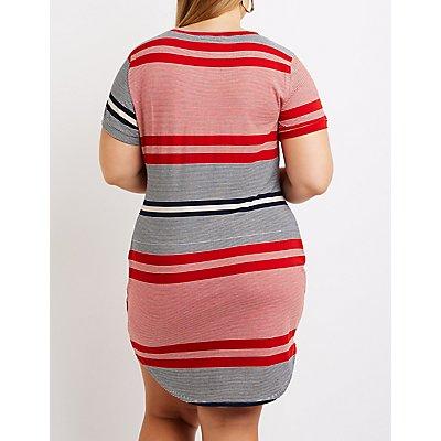 Plus Size Striped T-Shirt Dress