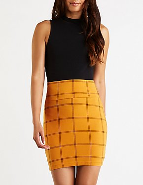 Plaid Mini Bodycon Skirt
