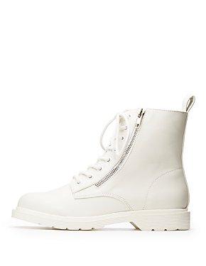 Zipper Trim Combat Boots