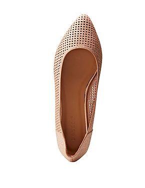 Bamboo Perforated Pointed Toe Flats