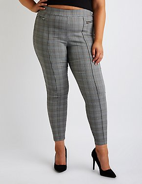 Plus Size Plaid Skinny Pants
