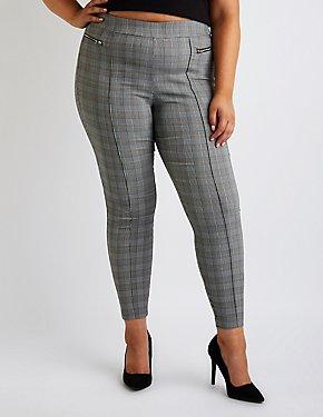 Plus Size Plaid Skinny Pants