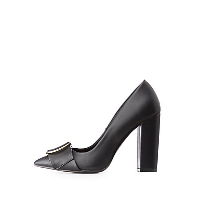 Circle Buckle Pointed Toe Pumps | Tuggl