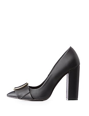 Circle Buckle Pointed Toe Pumps