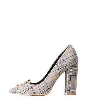 Plaid Buckle Pointed Toe Pumps