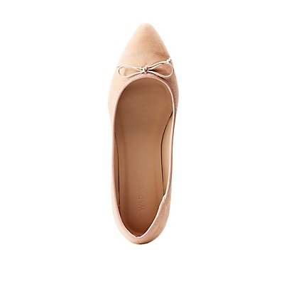 Bow-Tie Pointed Toe Ballet Flats