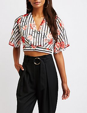 Printed Tie Back Crop Top