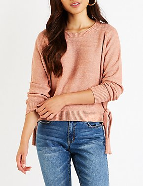 Side Tie Pullover Sweater