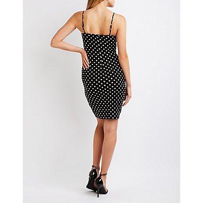 Notched Polka Dot Midi Dress