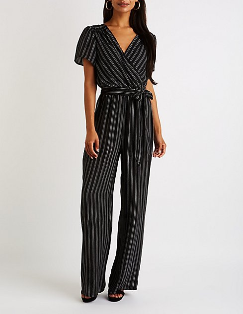 d38e8889a7c Striped Flutter Sleeve Wide Leg Jumpsuit at Charlotte Russe in ...