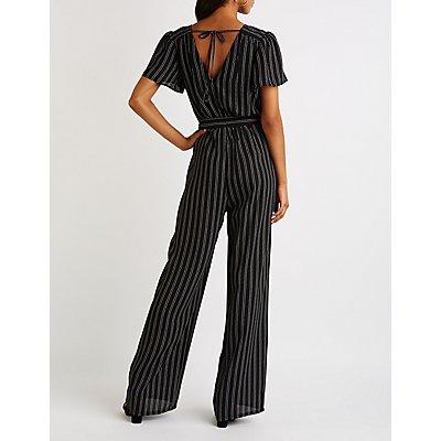 Striped Flutter Sleeve Wide Leg Jumpsuit