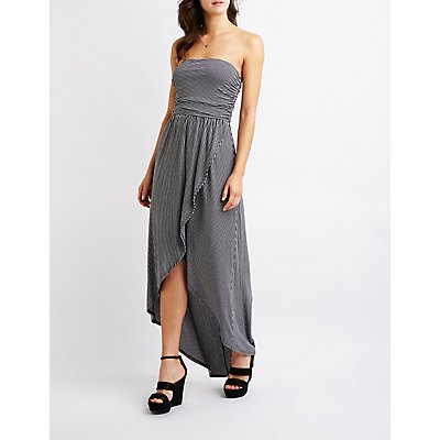 Striped Wrap Maxi Dress