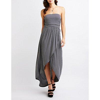 Striped Wrap Maxi Dress