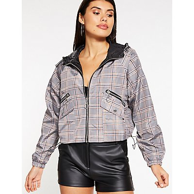 Plaid Cropped Wind Breaker Jacket