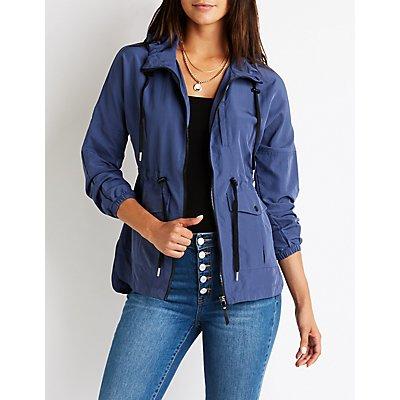 Crinkled Nylon Anorak Jacket
