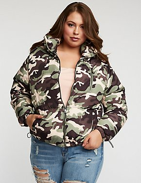 Plus Size Camo Puffer Jacket