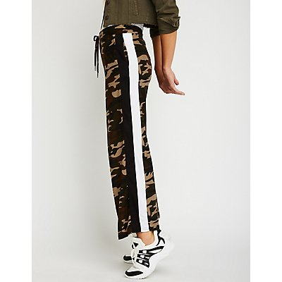 Side Striped Camo Flared Joggers