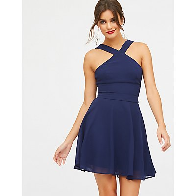 Bib Neck Skater Dress