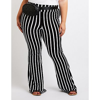 Plus Size Striped Flare Pants