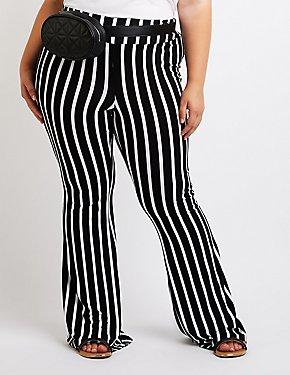 Plus Size Striped Flare Pants