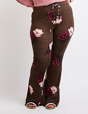 Plus Size Floral Lace Up Flare Pants
