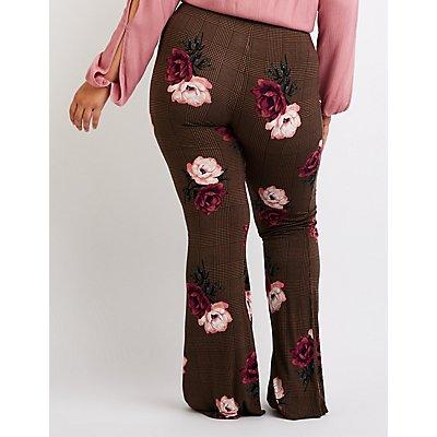 Plus Size Floral Lace Up Flare Pants