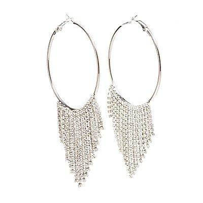 Rhinestones Hoop Drop Earrings
