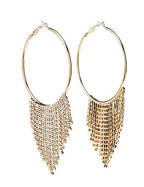 Fringe Hoop Drop Earrings
