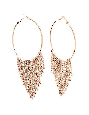 Rhinestones Hoop Drop Earrings