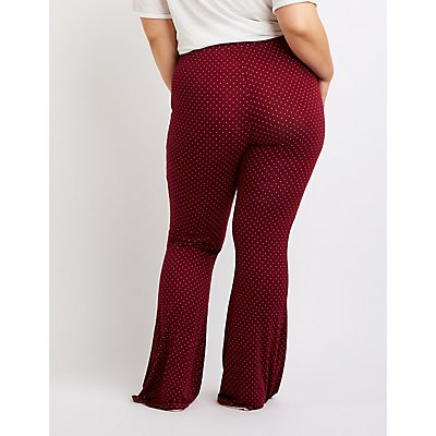 Plus Size Polka Dot Lace Up Flare Pants