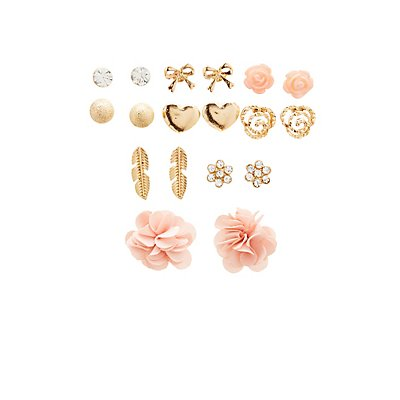 Crystal & Floral Stud Earrings - 9 Pack