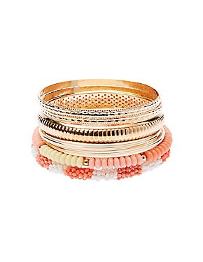 Beaded & Textured Bangles - 7 Pack