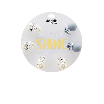 Faux Pearl & Floral Stud Earrings - 3 Pack