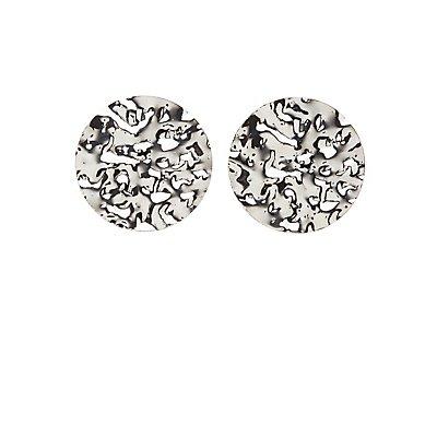 Hammered Oval Stud Earrings