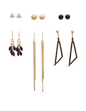 Bead & Crystal Embellished Earrings - 6 Pack