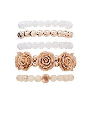 Floral Beaded Bracelets - 5 Pack