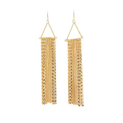 Triangle Drop Tassel Earrings