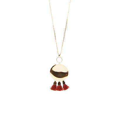 Oval Tassel Pendant Necklace