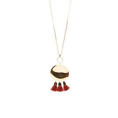 Oval Tassel Pendant Necklace