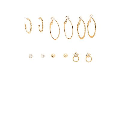 Textured Stud & Hoop Earrings - 6 Pack