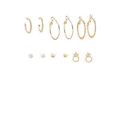 Textured Stud & Hoop Earrings - 6 Pack