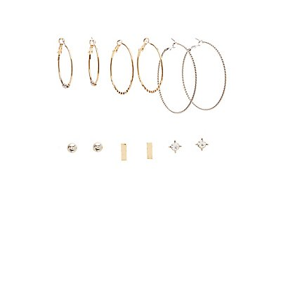 Crystal Stud & Hoop Earrings