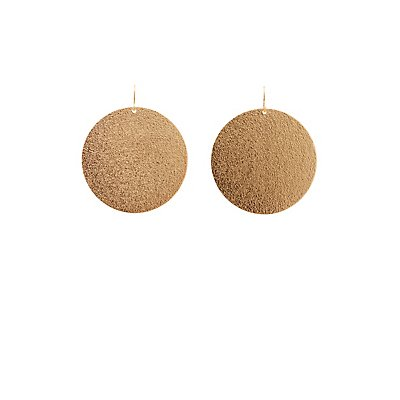 Metal Disk Drop Earrings
