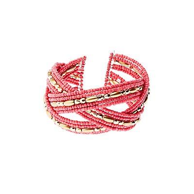 Bead & Rhinestone Cuff Bracelet